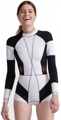Cynthia Rowley Buckle Detail Wetsuit Black White 2016